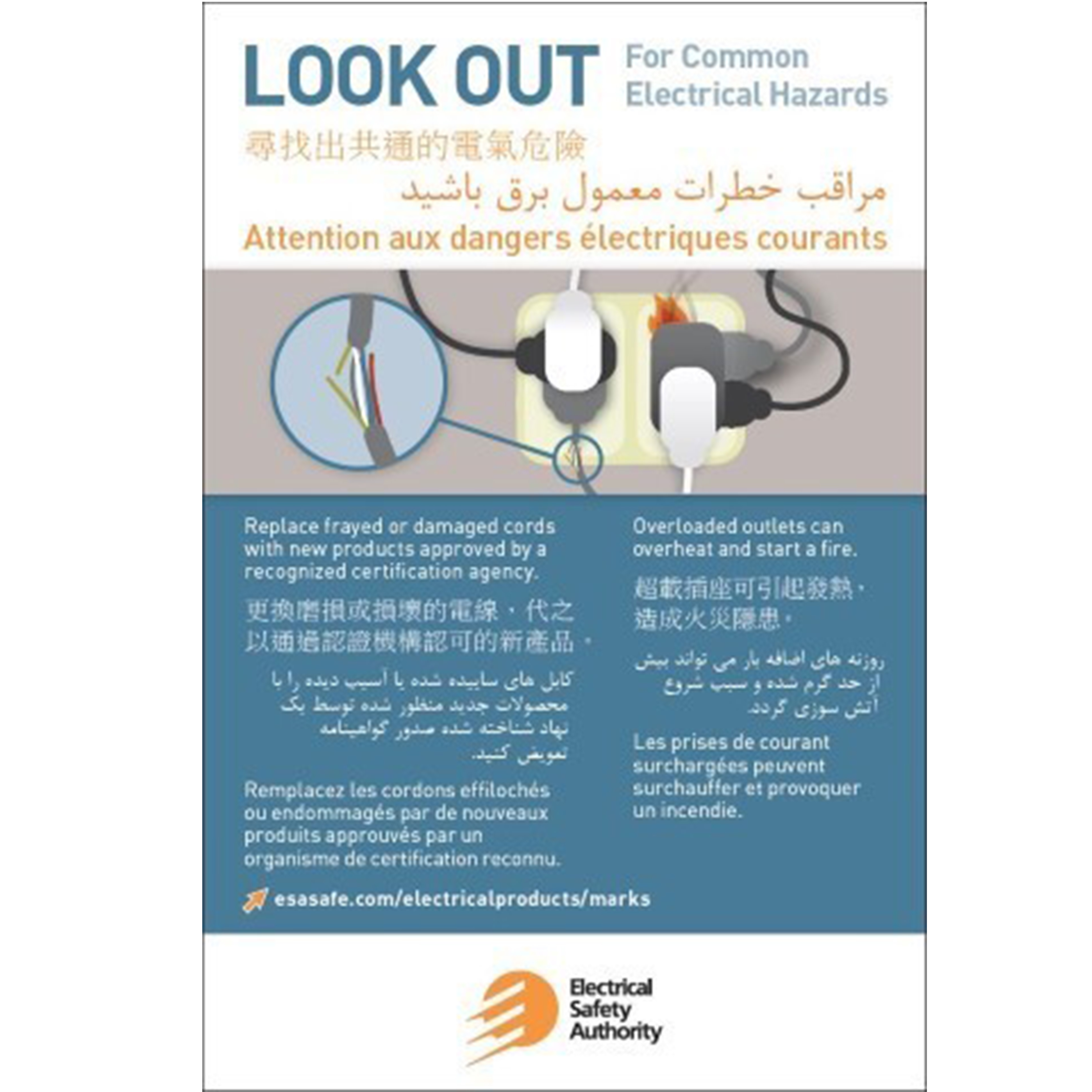 Cfr stores look out for common electrical hazards multilingual card sku esa 002 xflitez Images